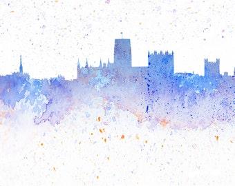 Watercolour Print Durham City Skyline, Durham Cathedral, Blue