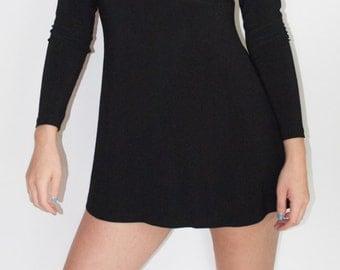 Simple Black Turtleneck Mini Dress