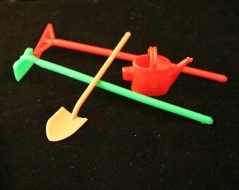 Miniature Plastic gardening tools