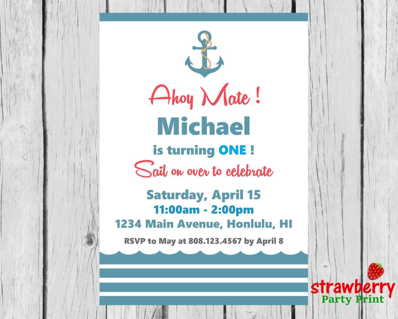 Nautical Birthday Invitation, Nautical Invitation, Ahoy Matey ...