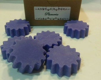 Sweet Plumeria scented purple daisy shape wax tarts, melts