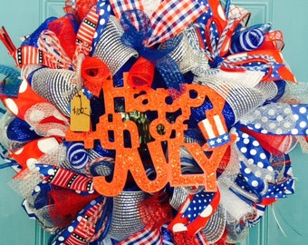 "Patriotic ""Happy 4th of July"" Large Deco Mesh Wreath-READY TO SHIP!"