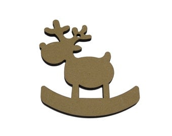 10 x Rudolf Rocking Reindeer craft shape, Tags , Decorations Blanks. Quality 4mm thick    FREE POSTAGE