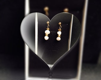 Freshwater pearl, gold filled earrings