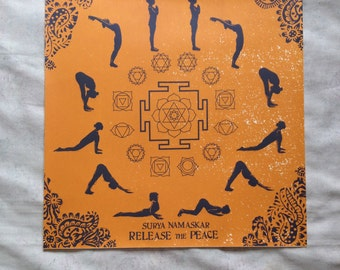 Yoga sun salutation screenprint floral blockprint asana yantra chakra poster