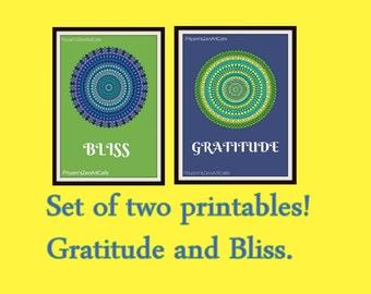 Set of two, printable art, mediattion prints, prints on sale, sale, gratitude and bliss print, spiritual prints, blue and green, digital art
