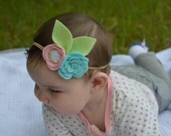 Aqua Rose Headband