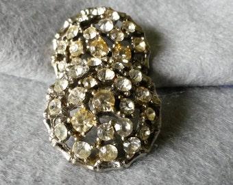 Vintage 1950's Metal Rhinestone Buttons