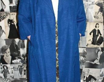 FABULOUS 1950's Cobalt Blue Duster Coat