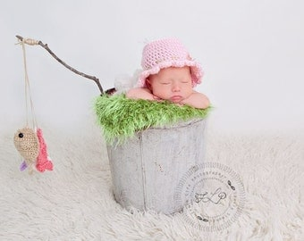 Baby Girl Fisherman Hat, Crocheted Fishing Hat, Baby Fishing Hat, Newborn Photo Prop