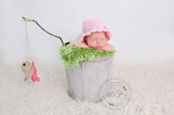 Baby girl fisherman hat crocheted fishing hat baby fishing for Baby fishing hat