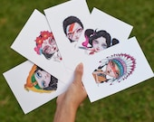 Kiddodog cartes postales - fantaisie lot de 5 - une overdose de pop ! -Personnage fille - crâne de Ziggy stardust - Folk - Cléopâtre - Harley Quinn - sucre