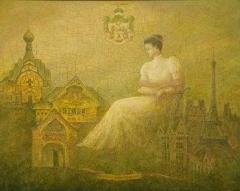Princess Maria Tenisheva - By V. Moskalenko Russian Original Oil Painting Canvas, 42x38 inches