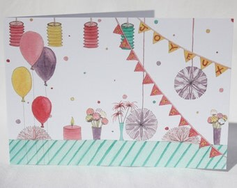 """Postcard """"pink birthday table"""" drawn and painted by hand"""