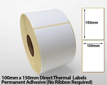 "500 4""x6"" Direct Thermal Shipping/Courier Labels - (100mm x 150mm) - Compatible with Zebra/Citizen and Sato Printers - FREE SHIPPING"