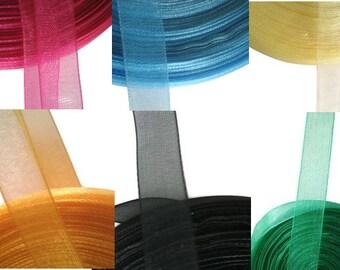Organza Ribbon 10 mm 3/8 - by the metre - 7 colors (white, black, green, pink, blue, yellow, orange)
