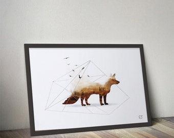 Poster animal landscape: the Fox - customizable - gilding - color - decoration - living room - bedroom