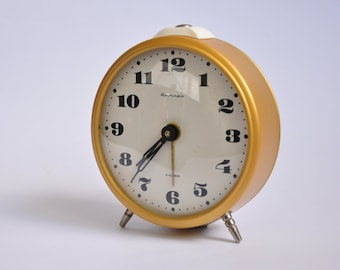 Big Vintage Russian Soviet Gold alarm clock Yantar Jantar mechanical USSR