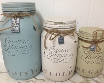 Shabby chic Mason Jars, Canister set, Personalized Canisters, Beautiful Kitchen Canisters, Shabby Chic, Chalk Painted By Hand!