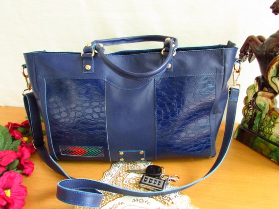 Blue women bag, luxury bag, blue crocodile print bag, Large women bag, oversized leather bag, Blue casual bag, Leather tote
