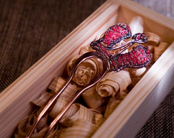 1.  Сopper hairpin decorated with beads