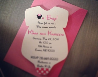 Onesie Baby Shower Invite. Minnie Mouse