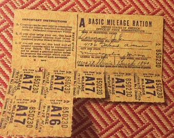 World War II Basic Mileage Ration Stamps for a 1940 Buick