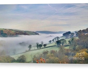 Canvas print of misty devon hills during summer clouds cloudy mist hill rural dartmoor fog river valley haze landscape nature countryside