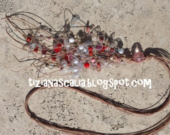 Red and White Salmon long necklace multi bottle recycling