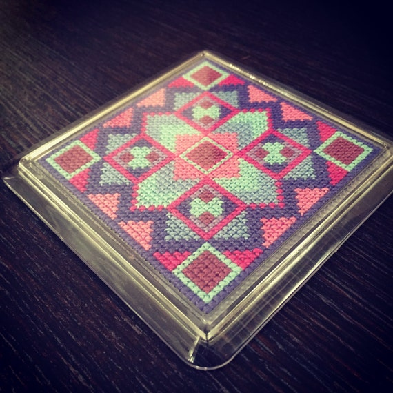 Cross Stitch Pattern - Geometric Square in Pinks, Purples and Blues - could be made into a coaster