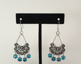 Blue Glass Cathedral Chandelier Earrings
