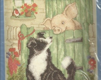 DMC Counted Cross Stitch - Curly Tails Puppy and Piglet Design