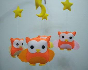 Baby mobole, Baby felt mobile, Baby crib mobile, Baby Nursery mobile, Baby Owl mobile, Orange Owl baby mobile, Star moon owl baby mobile