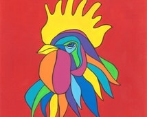 Rooster Print, Mexican Folk Art, Chicken Art, Kitchen Decor,Rooster, MargoVangoghCreates, Colorful, Rooster Art, Gallo, Chicken, Red,