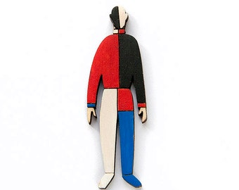 Wooden Brooch, Art Brooch, Wooden Jewelry, Gift for Artist, Gift for Her, Colorful Brooch, Art Pin, OOAK Jewelry Gift, Malevich Art