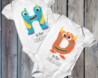 Monster Personalised Name Bodysuit | Baby Shower Gift | Custom Baby Bodysuit | Going Home Outfit | Baby Boy Clothes | Funny Baby Bodysuit
