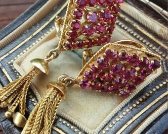14k Gold 2.5ct Ruby Tassel Earrings Vintage 11.2 Grams