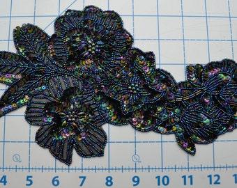 Navy Blue Beaded Sequin Flower Applique