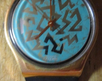 Vintage Swatch Watch 1988 AG Water Resistant Sign Of Samas Swiss Made Swatch Wrist Watch