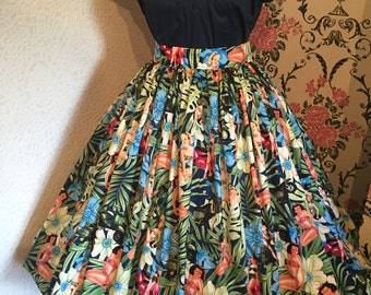 Gertie Girls On Scooter Print Full Gathered Skirt