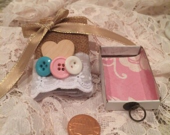 Upcycled match box/Burlap/Buttons