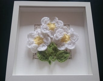 Box framed crochet; daisies on a granny square