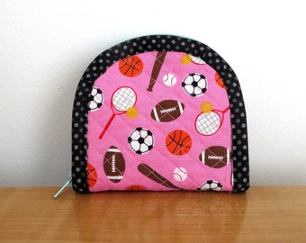 Small Pink Tennis Lover Wallet With Green Pattern