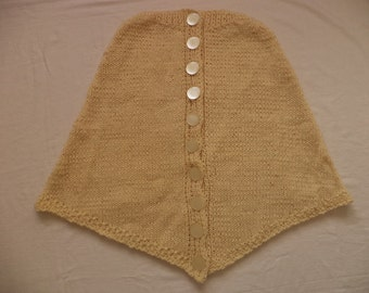 Knitted poncho eco wool 36/38 wool buttons