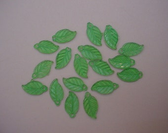 18 Translucent Green Leaf Beads  16x9 mm