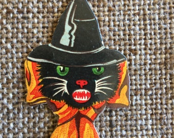 Authentic Antique Vintage 1920's German Black Cat in Witch Hat Embossed,Glossy Halloween Diecut Cardboard Decoration