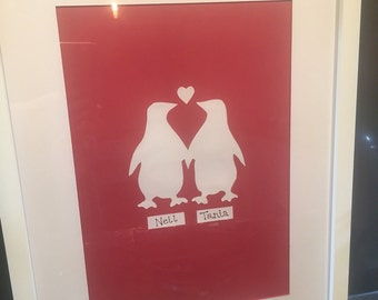 Penguin couple papercut