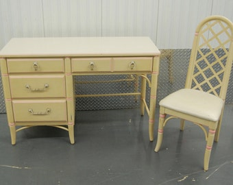 Vintage Thomasville Faux Bamboo Desk and Chair