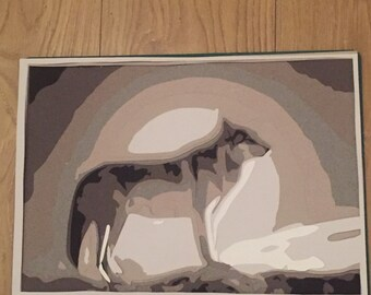 Wolf in the light of the moon , layered paper cut