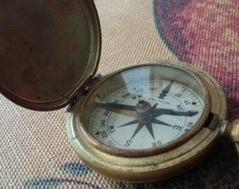 Antique pocket compass WWI era Waltham US